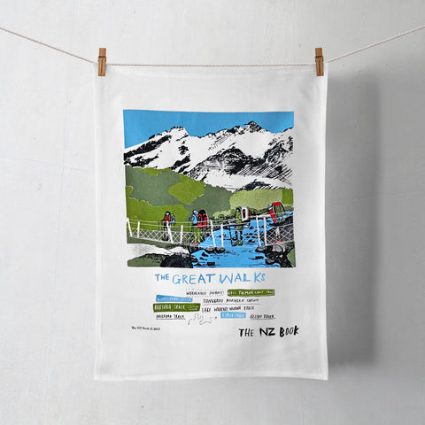 NZ Book Great Walks Tea Towel