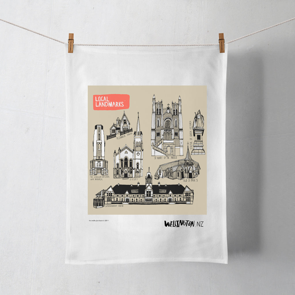 Wellington Book Landmarks Tea Towel
