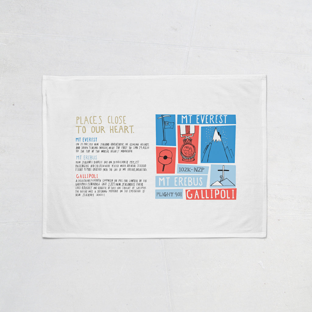 NZ Book Our Heart Tea Towel