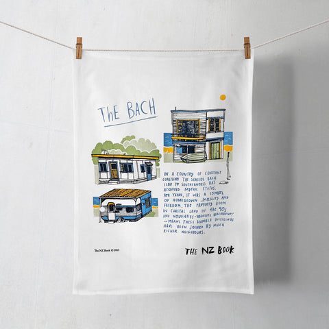 NZ Book The Bach Tea Towel