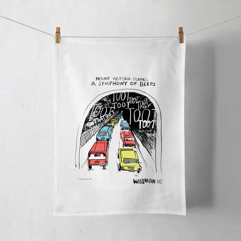 Wellington Book Tooting Tunnel Tea Towel