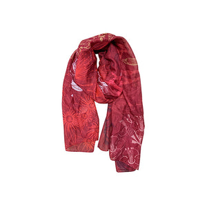 Flora Fusion Red Scarf