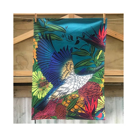 Kōtare Kingfisher Teal Tea Towel