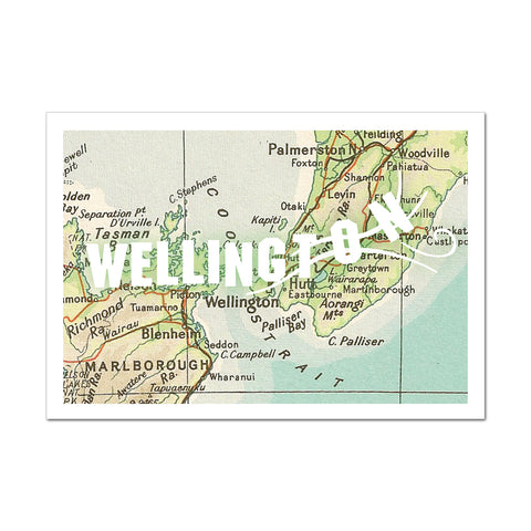 Blown Away Wellington Map - Greeting Card