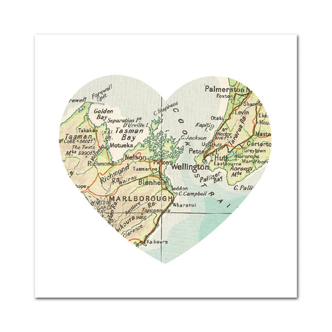 Wellington Map Heart - Greeting Card