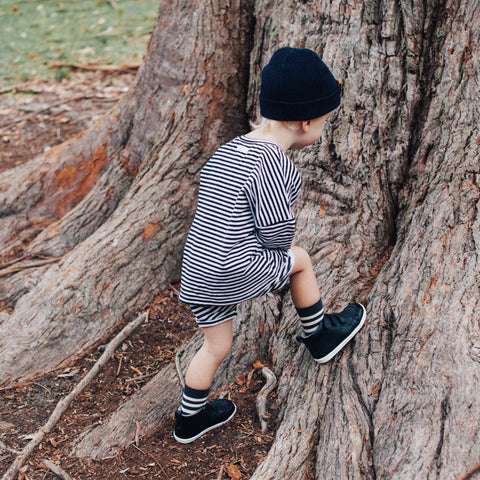Slate Merino Crew Child Socks
