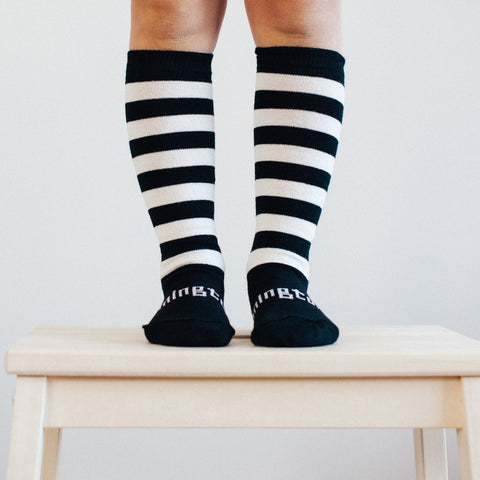 Go Black Merino Knee High Toddler Socks