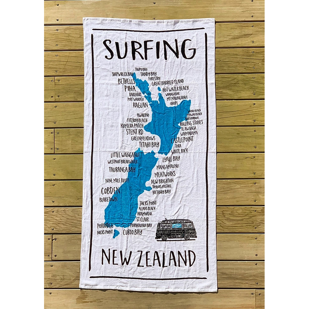 NZ Surf Locations Beach Towel