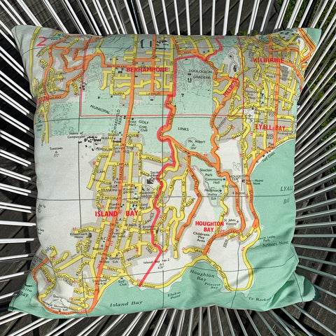 Wellington South 1950s Road Map Cushion Cover