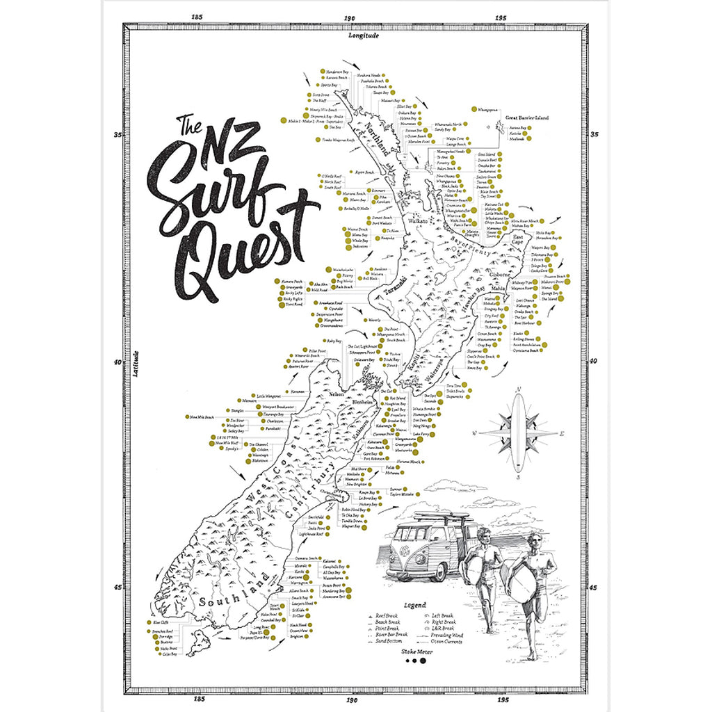 NZ Surf Quest Map Print