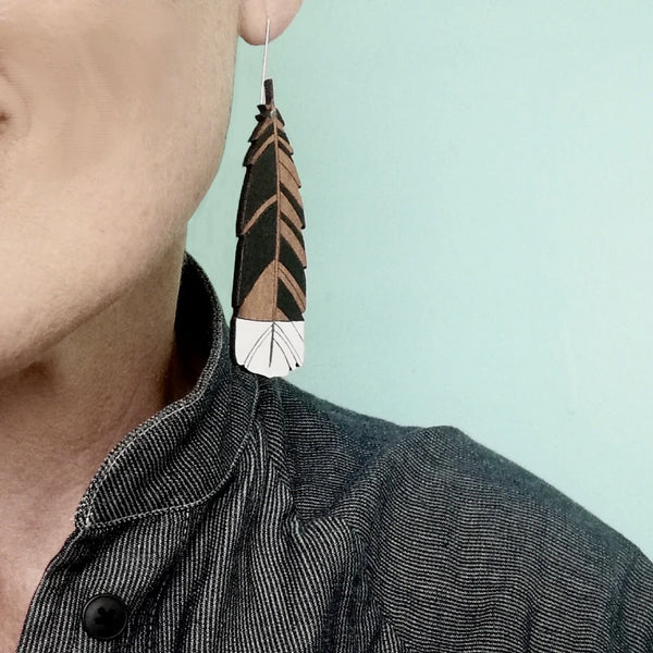 Large Hanging Huia Earrings