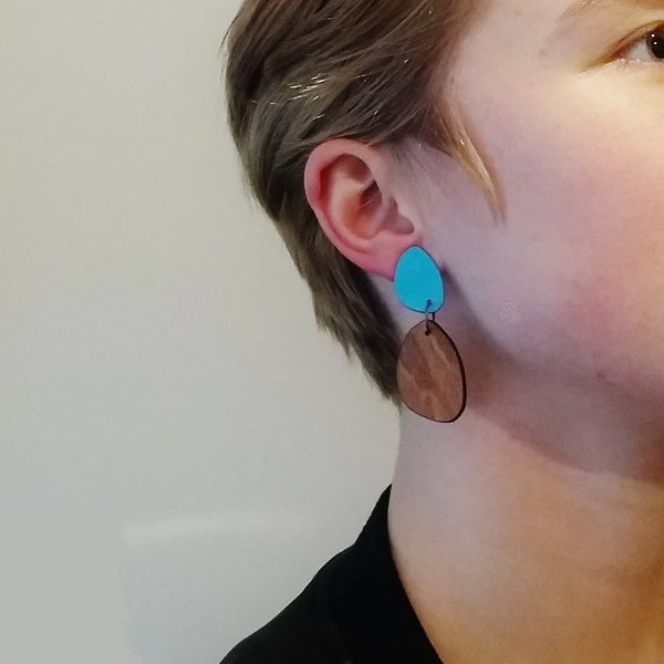 Large Hanging Wood Earrings With Laminate Stud