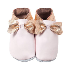 Bows Baby Shoes / Baby Pink & Rose Gold