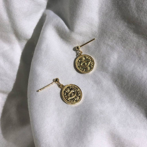 18k Gold All Seeing Earrings