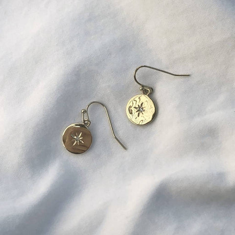 18k Gold North Star Earrings