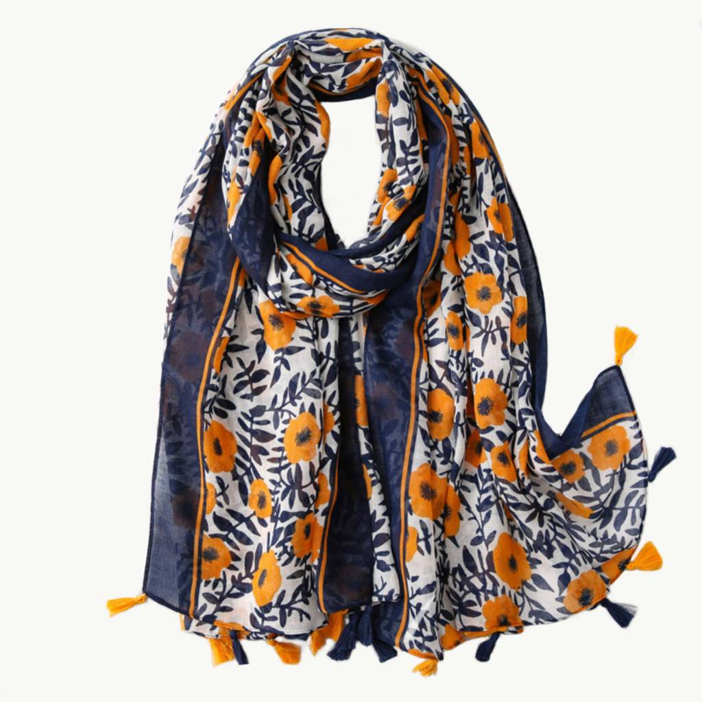 Orange & Navy Floral Tassel Scarf