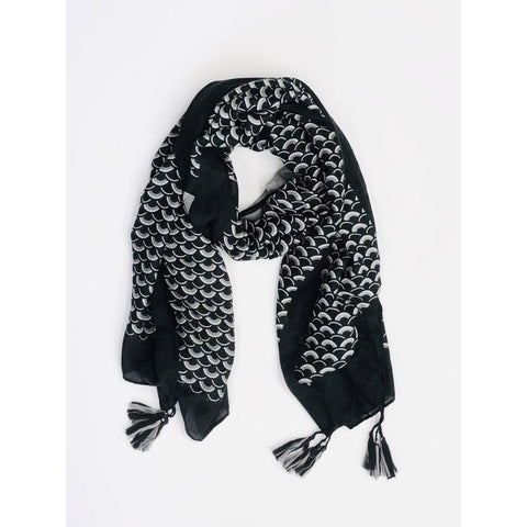 Scale Pattern Scarf with Tassels