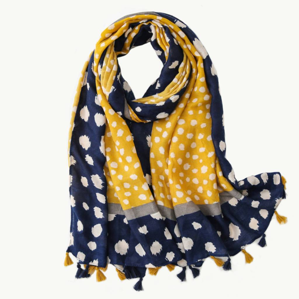 Spotty Dots Mustard & Blue Scarf