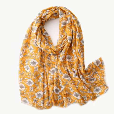 Yellow with White Flower Summer Scarf