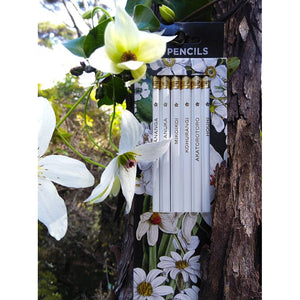 White New Zealand Flowers Pencil Set