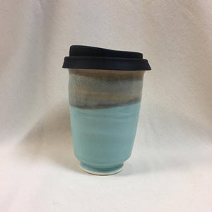 Sandy Blue Ceramic Takeaway Cup