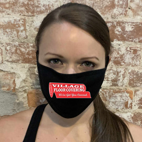 Flat Black Mask Printed with Logo