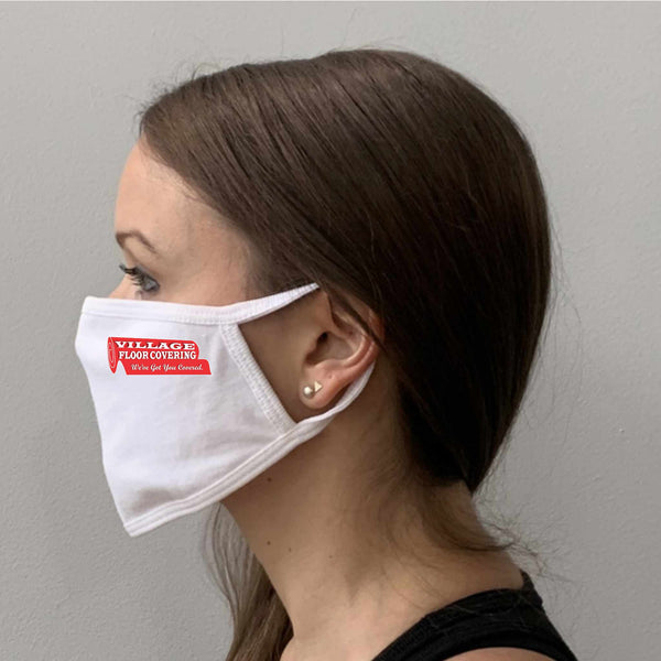 Flat White Mask with Printed Logo Side View