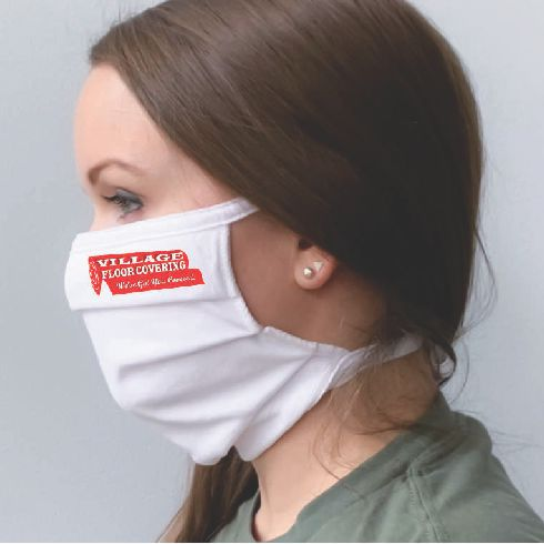 Pleated Masks with Ties - Printed Logo