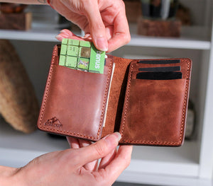 Leather Bifold Vertical Wallet - Laodicea