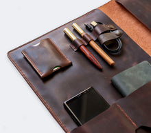 Load image into Gallery viewer, Leather MacBook Organizer - Brown
