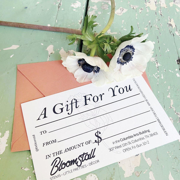 Flower Gift Certificate, Columbia, Tennessee Florist, Flower Shop.