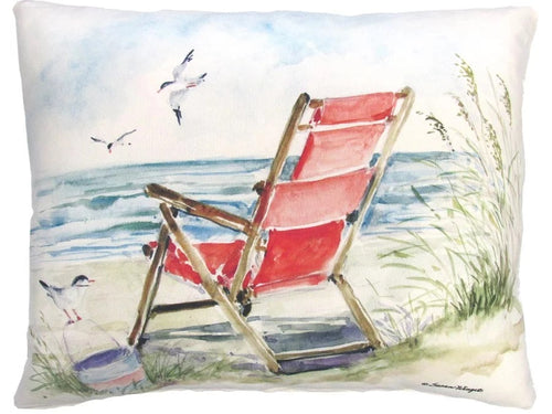 Beach Chair Red Pillow