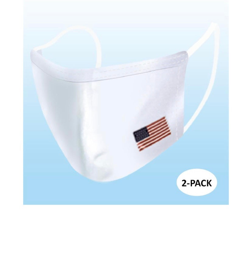 White Reusable Mask with flag-2 PACK