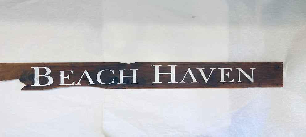 Beach Haven cedar sign