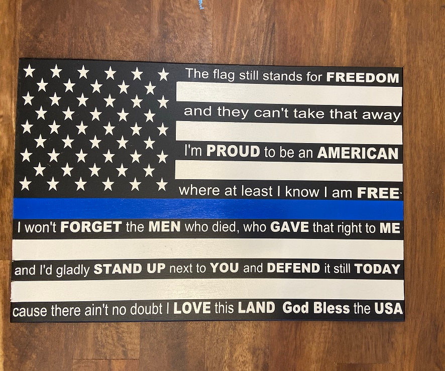 Wooden flag sign Police Proud to be an American