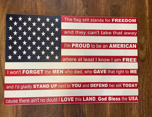 Wooden flag sign Proud to be an American