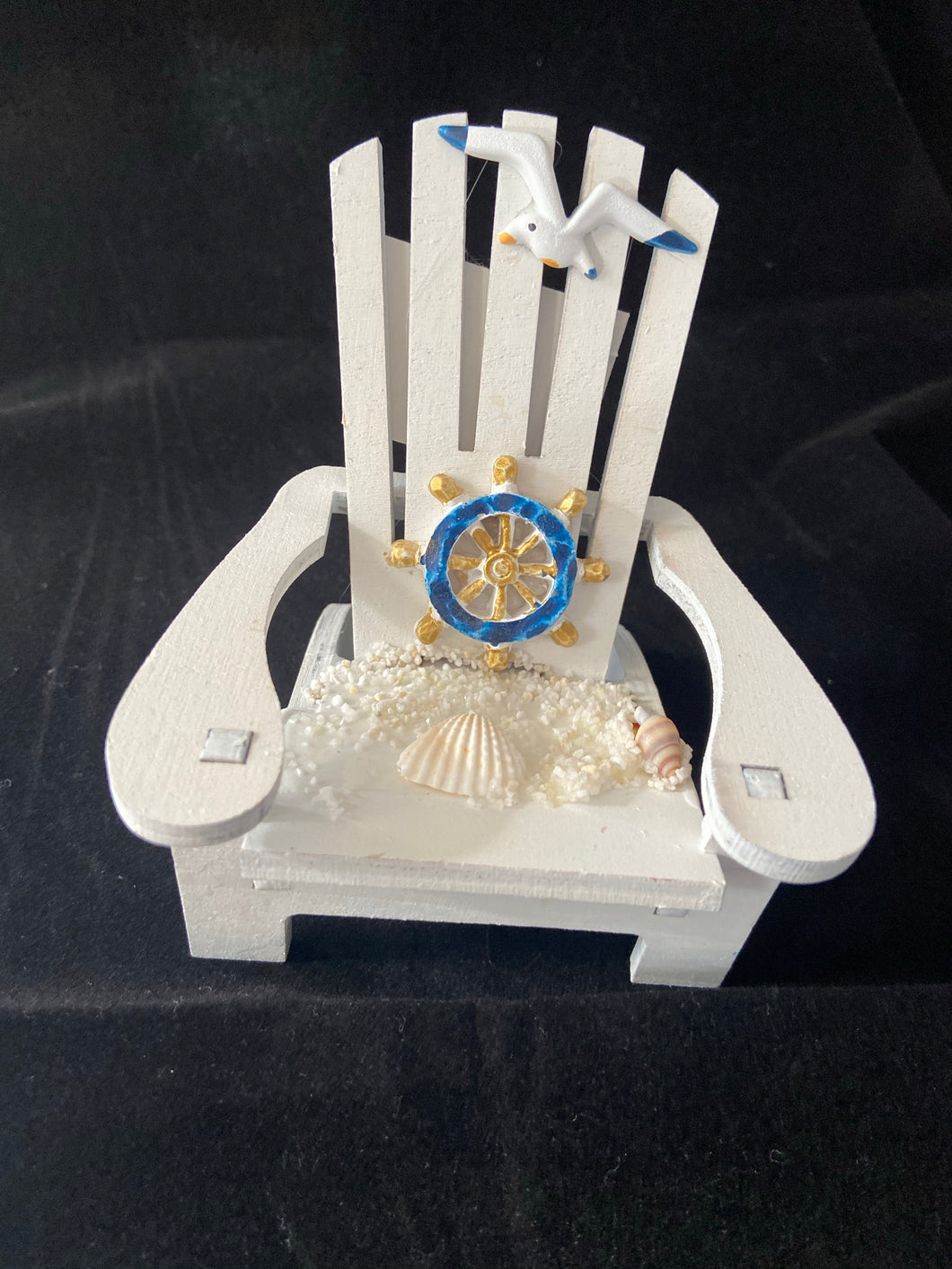 Adirondack chair with ship wheel