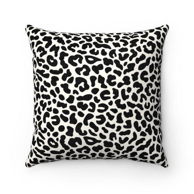 Leopard Print - Black + White Faux Suede Pillow