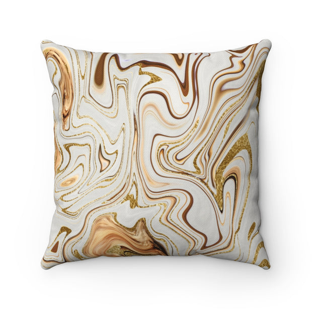 Swirl  - Gold + Ivory Spun Polyester Pillow
