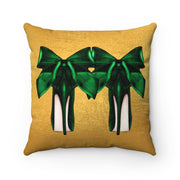 'High Standards' - Emerald + Gold Faux Suede Pillow