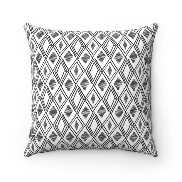 BOHO BLACK + WHITE Faux Suede Pillow