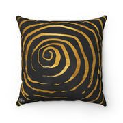Abstract Spiral - Black + Gold Spun Polyester Pillow