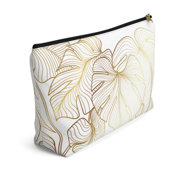 Gold + White Monstera Leaves Accessory Pouch w/T-Bottom