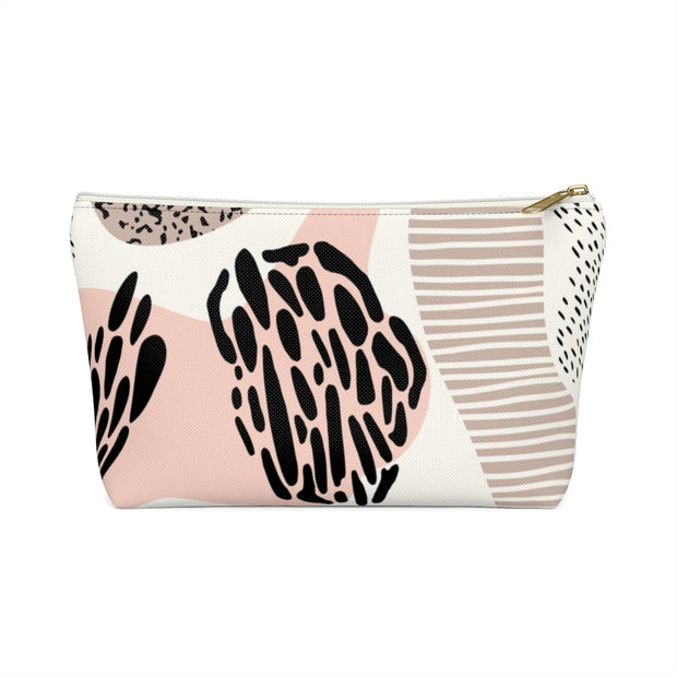 Abstract Neutral Pink Accessory Pouch w/T-Bottom