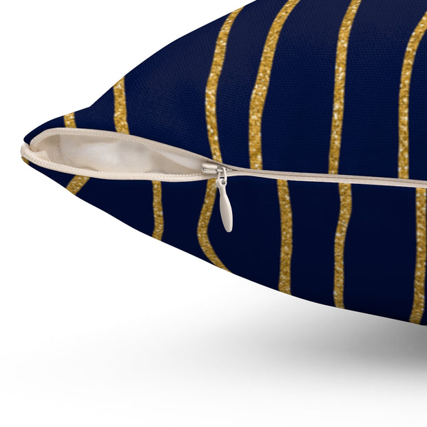 'Linear' Navy + Gold Spun Polyester Pillow