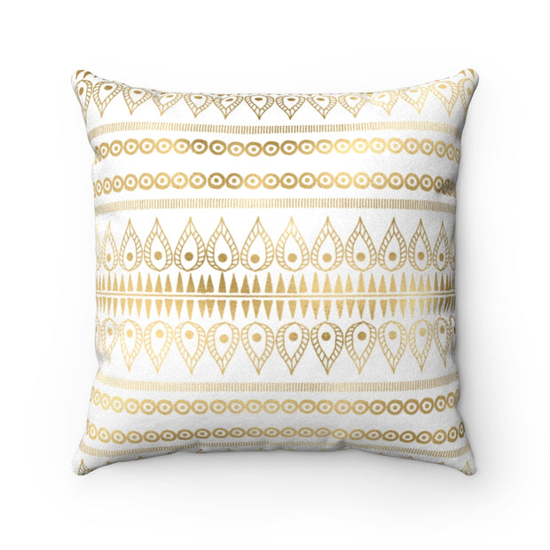 Tribal WHITE + GOLD Faux Suede Pillow