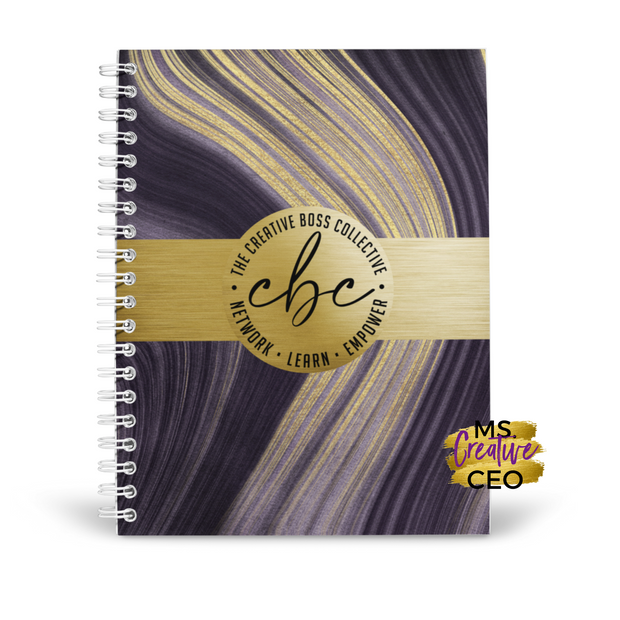 'CBC' Purple + Gold Marble Spiral Bound Lined Notebook