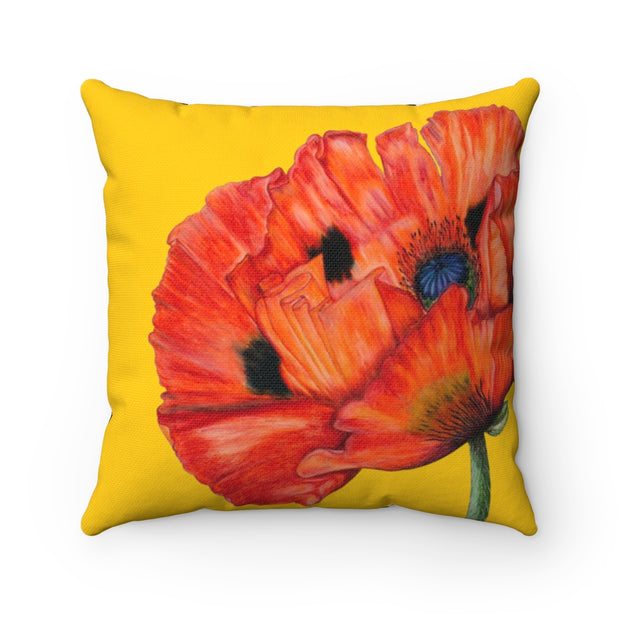 'Poppy Passion' - Yellow Spun Polyester Pillow