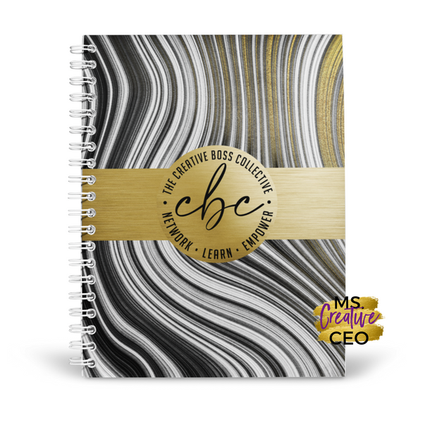 'CBC' Black + Gold Marble Spiral Bound Lined Notebook