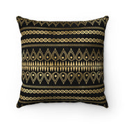 Tribal BLACK + GOLD Faux Suede Pillow